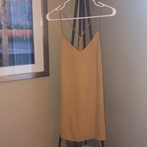 Honey Punch mustard color strap slip dress